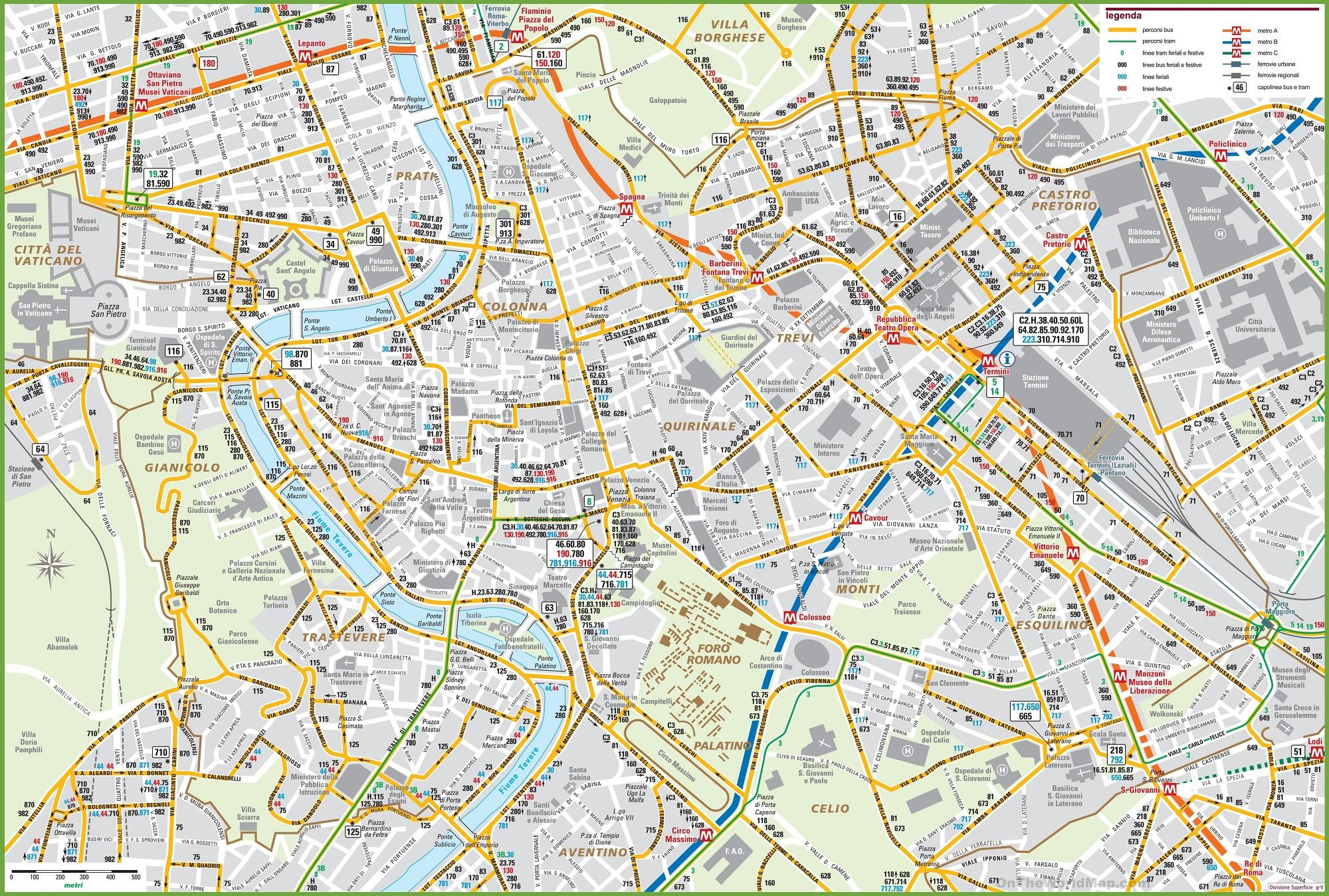 Cartina Autobus Roma.Metropolitana Di Roma Mappa Di Autobus Metro E Bus Mappa Di Roma Lazio Italia
