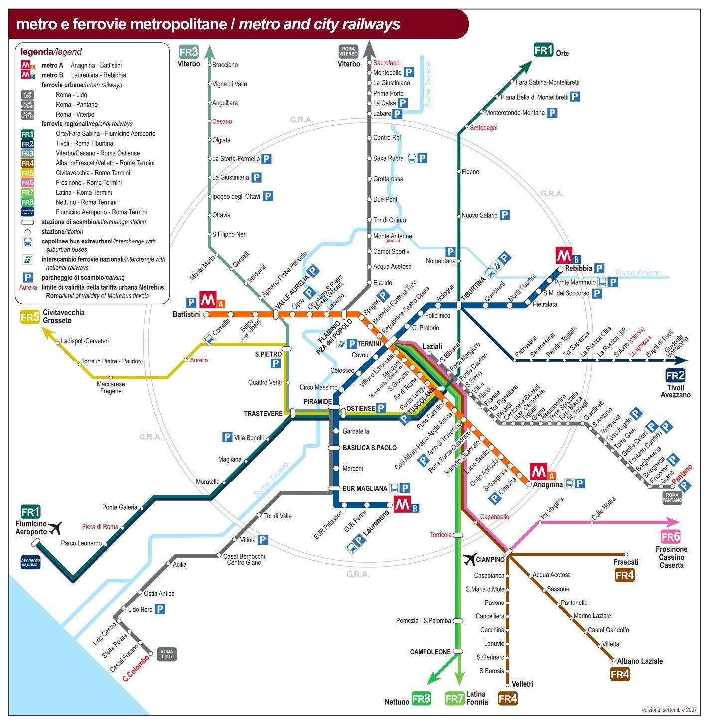 Cartina Roma Mezzi Pubblici.Roma Trasporto Pubblico Mappa Roma Cartina Dei Trasporti Pubblici Lazio Italia