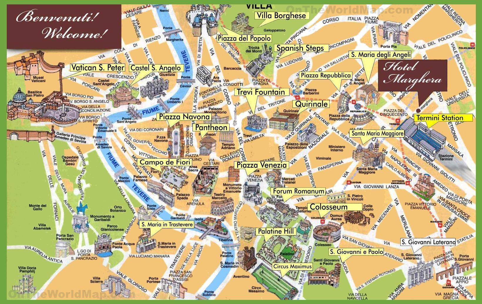 Roma Centro Cartina.Roma Punti Di Riferimento Sulla Mappa Monumenti Di Roma Mappa Lazio Italia