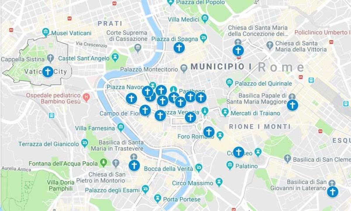 Cartina D Roma.Chiese Di Roma Mappa Cartina Delle Chiese Di Roma Lazio Italia