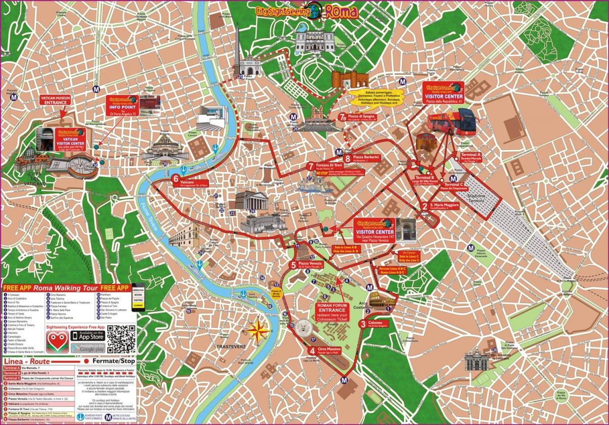 hop on hop off, Roma, Italia mappa