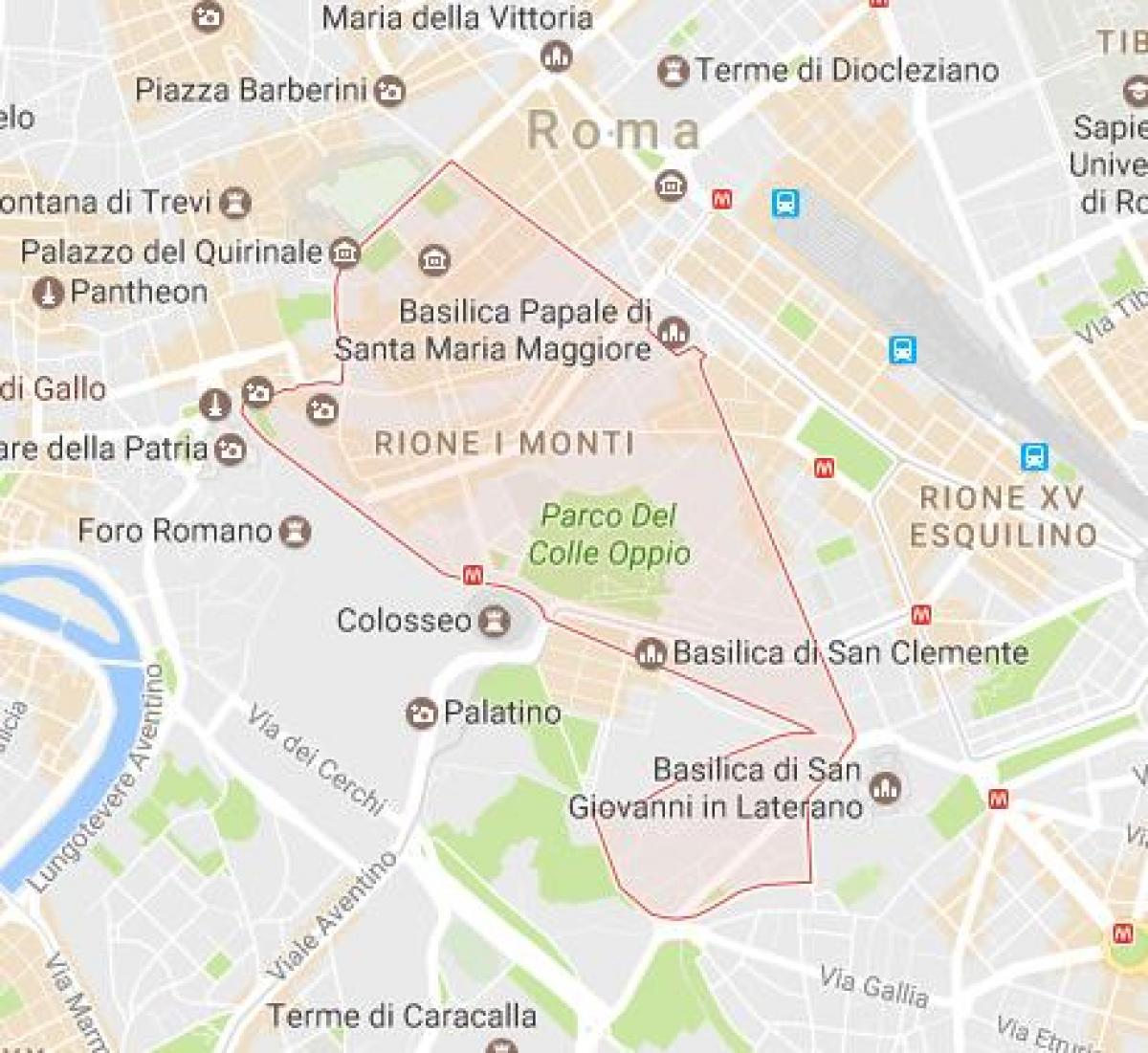 Rione Monti Roma mappa - quartiere Monti di Roma, mappa ...