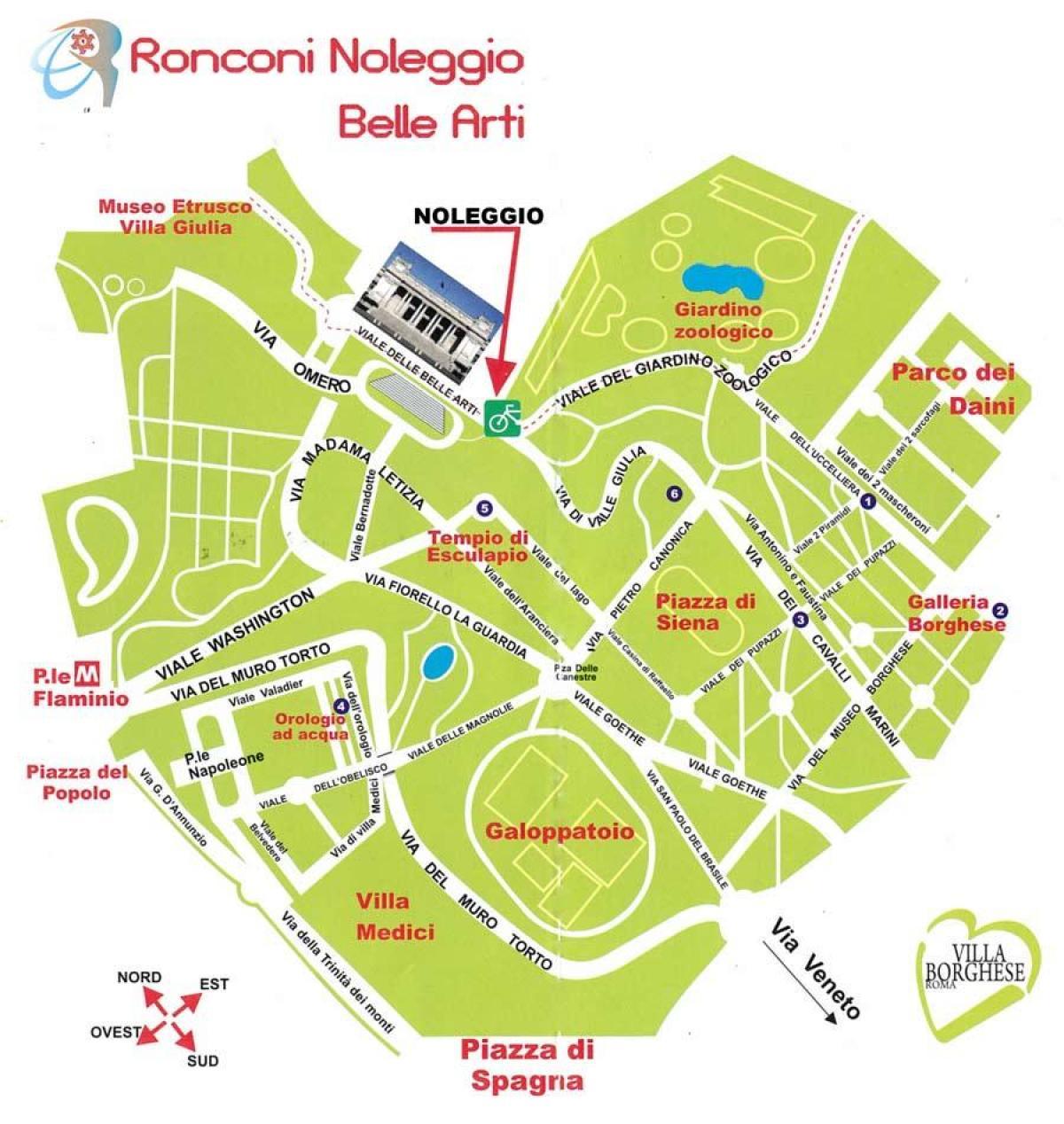 Cartina Di Villa Borghese Roma.Villa Borghese Mappa Borghese Mappa Lazio Italia